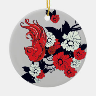 red black and white bird and flowers lovely vector Double-Sided ceramic round christmas ornament