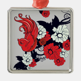 red black and white bird and flowers lovely vector square metal christmas ornament