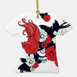 red black and white bird and flowers lovely vector Double-Sided T-Shirt ceramic christmas ornament