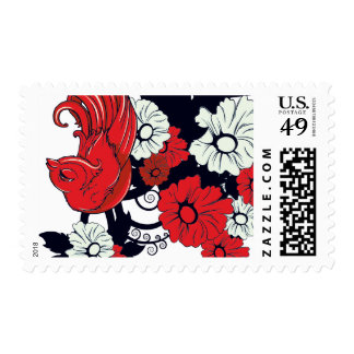 red black and white bird and flowers lovely vector stamps