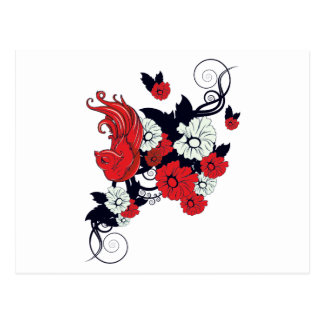 red black and white bird and flowers lovely vector postcard