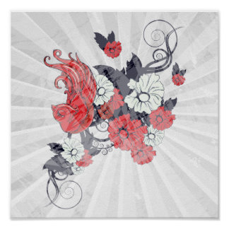 red black and white bird and flowers lovely vector poster