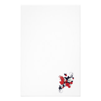 red black and white bird and flowers lovely vector stationery