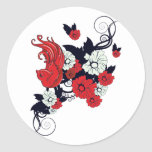 red black and white bird and flowers lovely vector round stickers