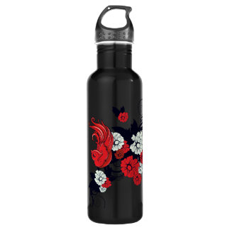 red black and white bird floral vector 24oz water bottle