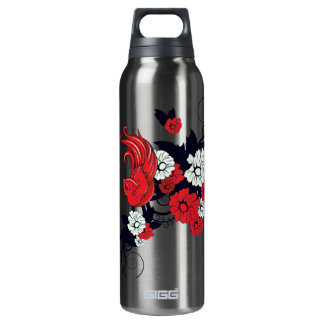 red black and white bird floral vector 16 oz insulated SIGG thermos water bottle
