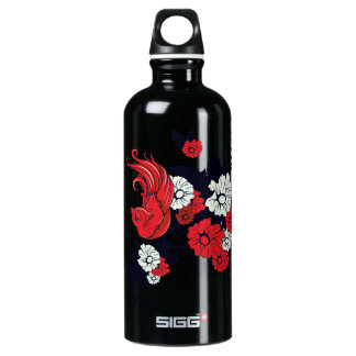 red black and white bird floral vector SIGG traveler 0.6L water bottle