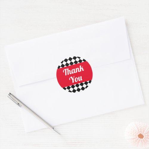 Red Black and White Checkered Thank You Classic Round Sticker