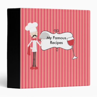 Red Black and White Chef Wine Glass Recipes Binder