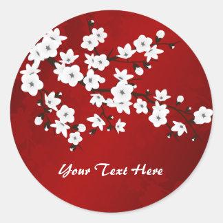 Red Black And White Cherry Blossom Classic Round Sticker