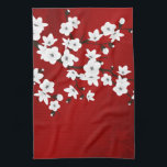 "Red Black And White Cherry Blossom Kitchen Towel<br><div class=""desc"">cherry blossom  red black and white  pretty nature japan japanese sakura cherry branch floral flowers</div>"