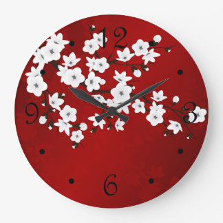 Red Black And White Cherry Blossom Large Clock