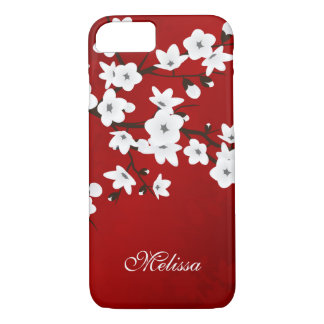 Red Black And White Cherry Blossom Monogram iPhone 8/7 Case