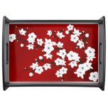 Red Black And White Cherry Blossom Serving Tray