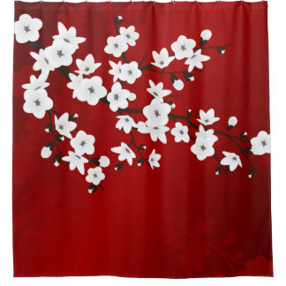 Red Black And White Cherry Blossom Shower Curtain