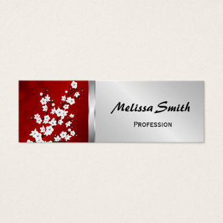 Red Black And White Cherry Blossoms Mini Business Card