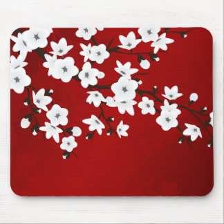 Red Black And White Cherry Blossoms Mouse Pad