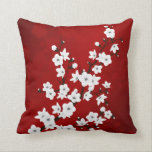"Red Black And White Cherry Blossoms Throw Pillow<br><div class=""desc"">red black white cherry blossoms asia floral japanese flowering cherry sakura flowers</div>"