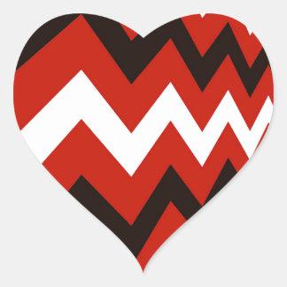 Red,Black and White Chevron Heart Sticker