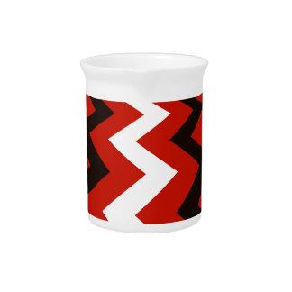 Red,Black and White Chevron Pitcher