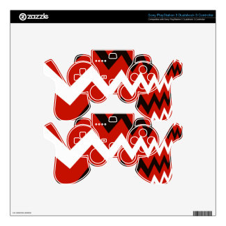 Red,Black and White Chevron PS3 Controller Decals
