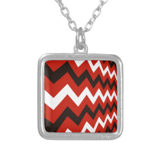 Red,Black and White Chevron Silver Plated Necklace