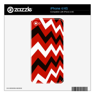 Red,Black and White Chevron Skins For iPhone 4S