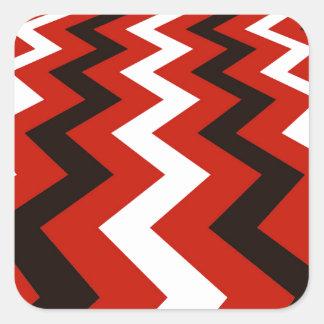 Red,Black and White Chevron Square Sticker