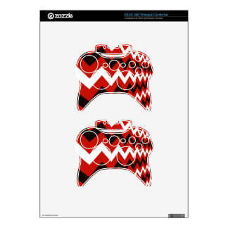 Red,Black and White Chevron Xbox 360 Controller Decal