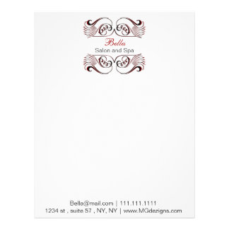 red, black and white Chic Business letterheads Letterhead
