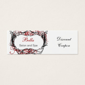 red,black and white Chic discount coupon Mini Business Card