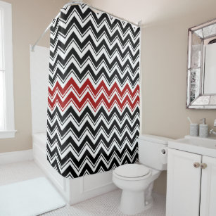Red Black And White Contemporary Chevron Stripes Shower Curtain