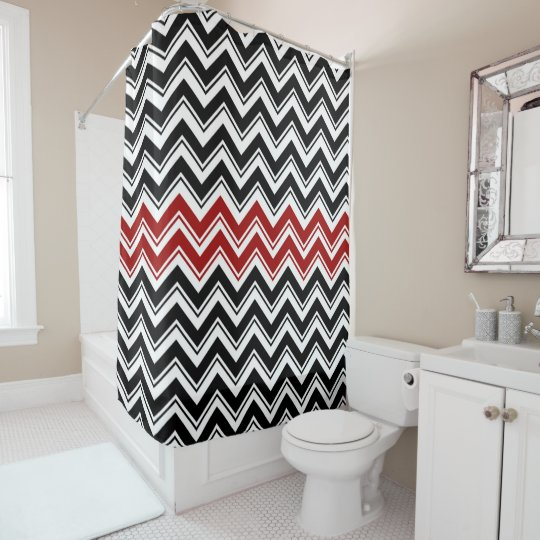 Red Black And White Contemporary Chevron Stripes Shower Curtain Zazzle