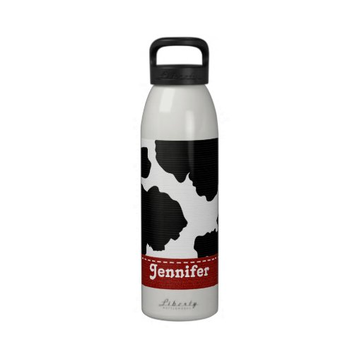 Red Black and White Cowhide Water Bottle BPA Free