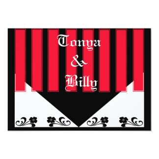 Red, Black and White Floral Invitation