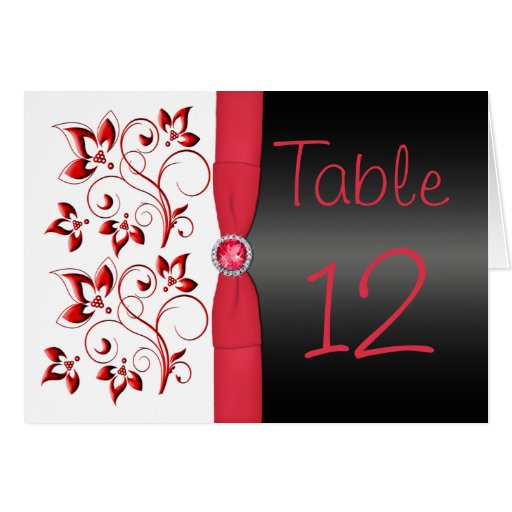 Red, Black and White Floral Table Number Card Greeting Cards