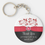 Red, Black, and White Floral Thank You Keychain