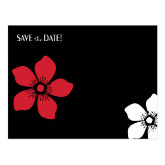 Red black and white flower SAVE the DATE postcard