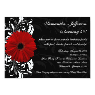 Red, Black and White Gerbera Daisy 40th Birthday 5x7 Paper Invitation Card