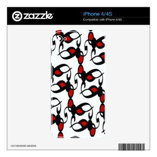 Red, Black and White Gothic Lace Skins For iPhone 4