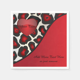 Red, Black and White Jaguar Print with Heart Paper Napkin