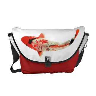 Red Black and White Koi Fish Messenger Bag