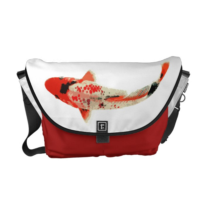 Red black and white koi fish messenger bag zazzle for Red and white koi fish