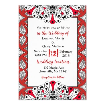 Wedding Themed Red, Black and White Mandala Wedding Invitations