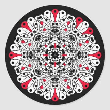 Wedding Themed Red, Black and White Mandala Wedding stickers