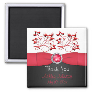 Red, Black, and white Party Favor Magnet