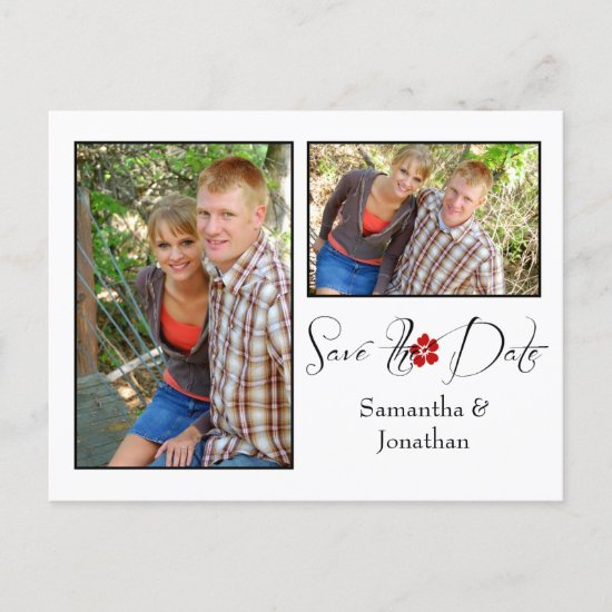 Red Black and White Photo Collage Save The Date Announcement Postcard