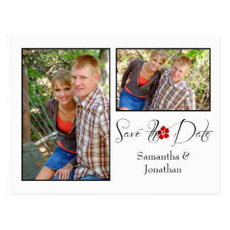 Red Black and White Photo Collage Save The Date Postcard