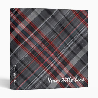 Red, black and white plaid binder