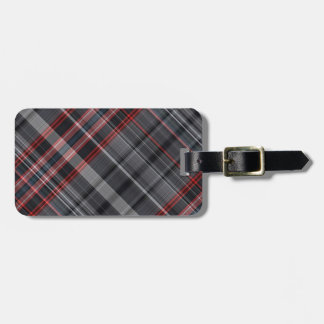 Red, black and white plaid travel bag tag